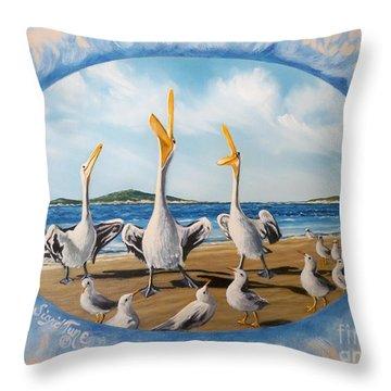 Beach Platoon Throw Pillow