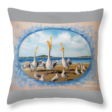 Flying Lamb Productions            Pelicans   Beach Platoon Throw Pillow