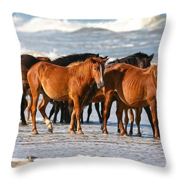 Beach Ponies Throw Pillow