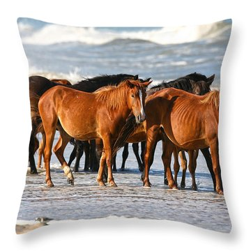 Beach Ponies Throw Pillow