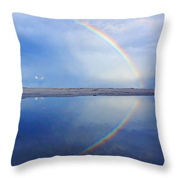Beach Rainbow Reflection Throw Pillow
