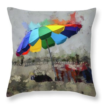 Throw Pillow featuring the mixed media Beach Ready by Trish Tritz