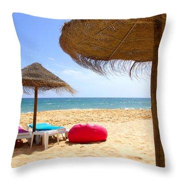 Beach Relaxing Throw Pillow by Carlos Caetano