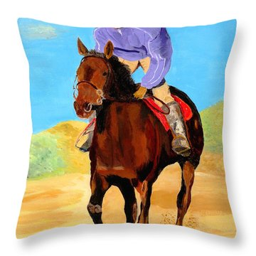 Throw Pillow featuring the painting Beach Rider by Rodney Campbell