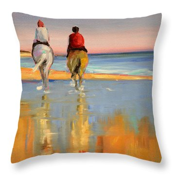 Beach Riders Throw Pillow by Trina Teele