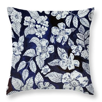 Beach Rose Pattern Throw Pillow