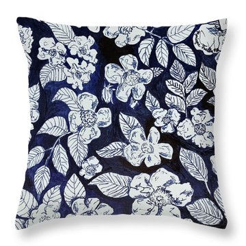 Throw Pillow featuring the drawing Beach Rose Pattern by Monique Faella