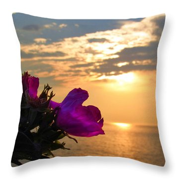 Beach Roses Throw Pillow