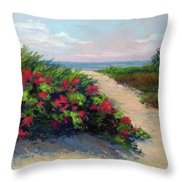 Beach Roses Throw Pillow