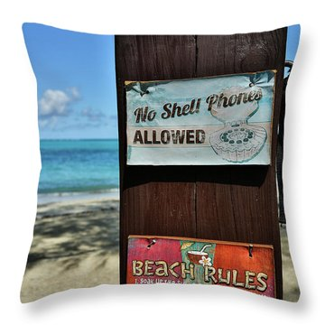 Beach Rules Throw Pillow