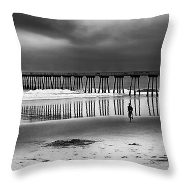 Beach Runner Throw Pillow by Joseph Hollingsworth