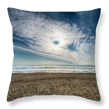 Beach Sand With Clouds - Spiagggia Di Sabbia Con Nuvole Throw Pillow