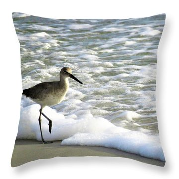 Beach Sandpiper Throw Pillow