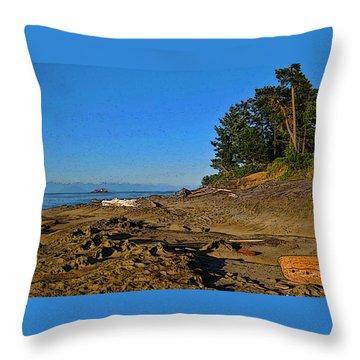 Beach Scene, Berry Point, Gabriola, Bc Throw Pillow