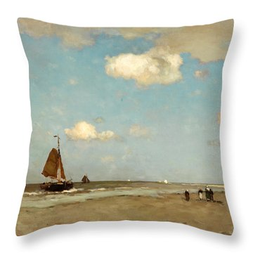 Throw Pillow featuring the painting Beach Scene by Jan Hendrik Weissenbruch