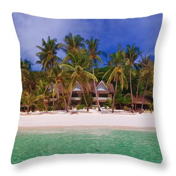 Beach Scene Throw Pillow by Joerg Lingnau
