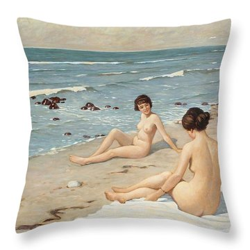 Beach Scenery With Bathing Women Throw Pillow by Paul Fischer