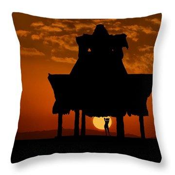 Throw Pillow featuring the photograph Beach Shelter At Sunset by Joe Bonita