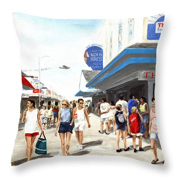 Beach/shore I Boardwalk Ocean City Md - Original Fine Art Painting Throw Pillow