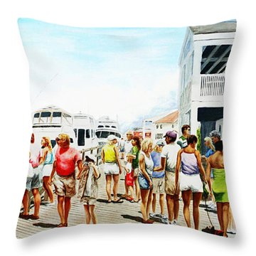 Beach/shore II Boardwalk Beaufort Dock - Original Fine Art Painting Throw Pillow
