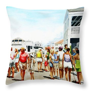 Beach/shore II Boardwalk Beaufort Dock - Original Fine Art Painting Throw Pillow