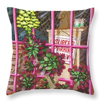 Throw Pillow featuring the painting Beach Side Storefront Window by Katherine Young-Beck