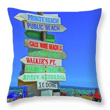 Beach Sign Throw Pillow