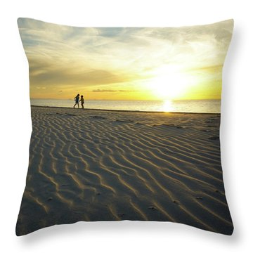 Beach Silhouettes And Sand Ripples At Sunset Throw Pillow