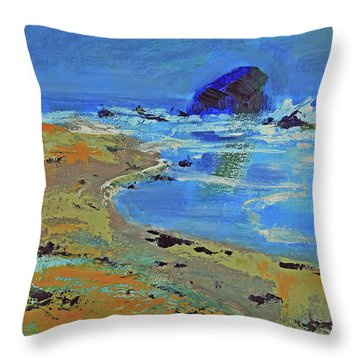Throw Pillow featuring the painting Beach Solitude by Walter Fahmy