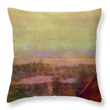Throw Pillow featuring the digital art Beach Stairs With Hazy Sky by Michelle Calkins