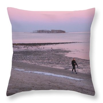 Beach Stroll Throw Pillow