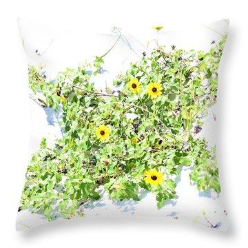 Beach Sun Flowers Throw Pillow