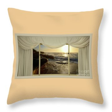 Beach Sunrise From Your Home Or Office By Kaye Menner Throw Pillow by Kaye Menner