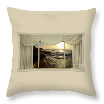 Beach Sunrise From Your Home Or Office By Kaye Menner Throw Pillow