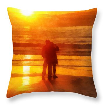Throw Pillow featuring the digital art Beach Sunrise Love by Francesa Miller