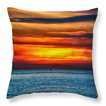 Throw Pillow featuring the photograph Beach Sunset And Boat by Mariola Bitner