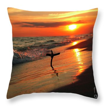 Beach Sunset And Cross Throw Pillow