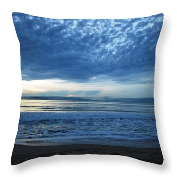 Beach Sunset - Blue Clouds Throw Pillow