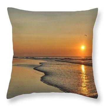 Topsail Nc Beach Sunrise Throw Pillow