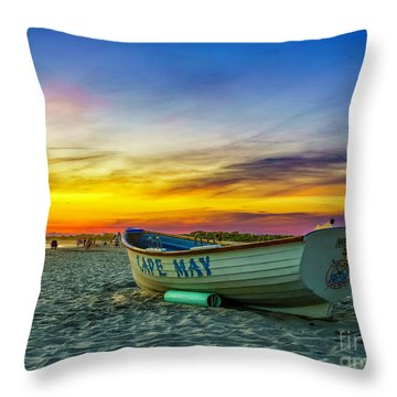 Beach Sunset In Cape May Throw Pillow