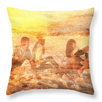 Throw Pillow featuring the digital art Beach Sunset With Friends by Andrea Barbieri