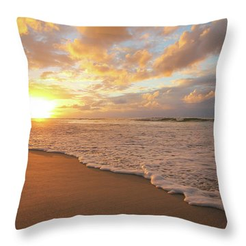Beach Sunset With Golden Clouds Throw Pillow