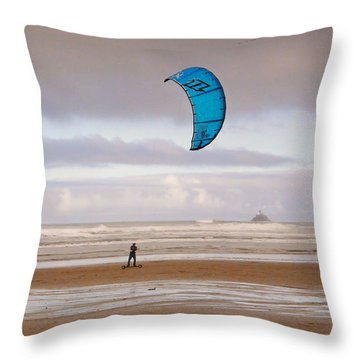 Throw Pillow featuring the photograph Beach Surfer by Wendy McKennon