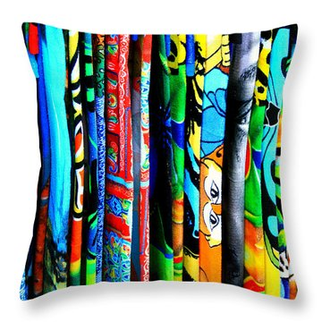 Beach Towels Throw Pillow by Perry Webster