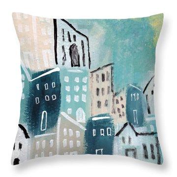 Beach Town- Art By Linda Woods Throw Pillow