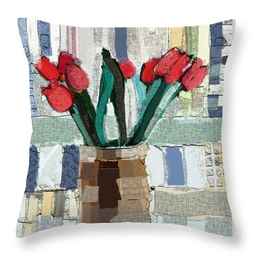 Throw Pillow featuring the painting Beach Tulips by Carrie Joy Byrnes