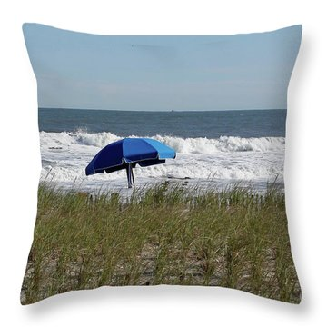 Beach Umbrella Throw Pillow by Denise Pohl