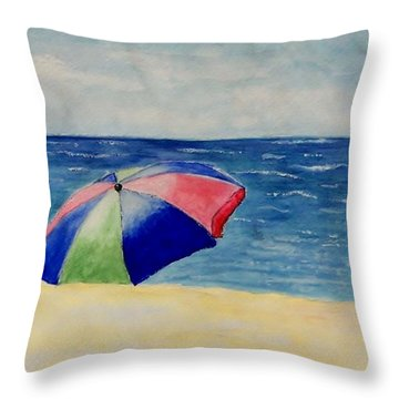 Throw Pillow featuring the painting Beach Umbrella by Jamie Frier