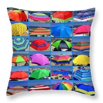 Beach Umbrella Medley Throw Pillow by Mitchell R Grosky