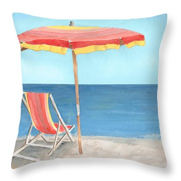Beach Umbrella Of Stripes Throw Pillow by Arline Wagner